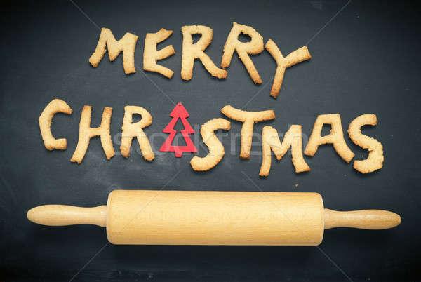 Neşeli Noel kara tahta mevsimlik tahta sözler Stok fotoğraf © andreasberheide
