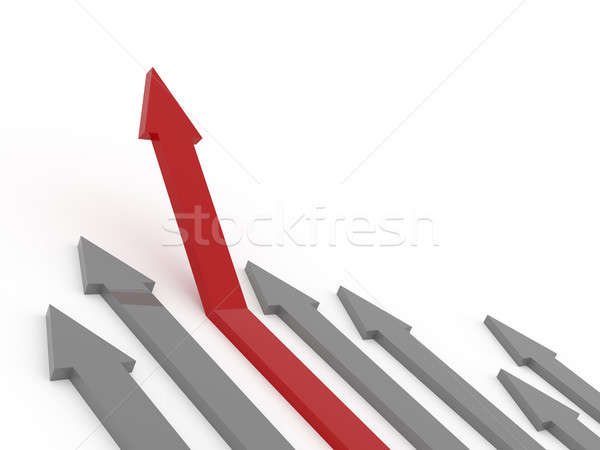 Red rising arrow on white Stock photo © andreasberheide