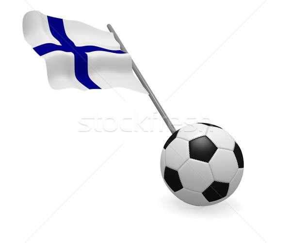 Futballabda zászló Finnország fehér futball fekete Stock fotó © andreasberheide