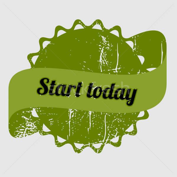 Inizio oggi verde timbro grunge parole Foto d'archivio © andreasberheide