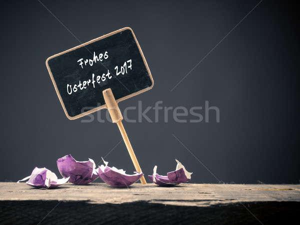 Iyi paskalyalar kara tahta sözler tahta görüntü renkli Stok fotoğraf © andreasberheide