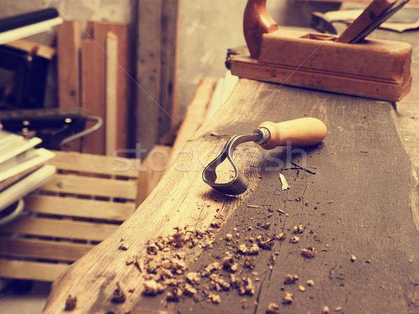 Charpentier outils bois bois travailleur vieux Photo stock © andreasberheide