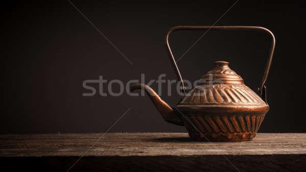 öreg használt réz tea edény rusztikus Stock fotó © andreasberheide