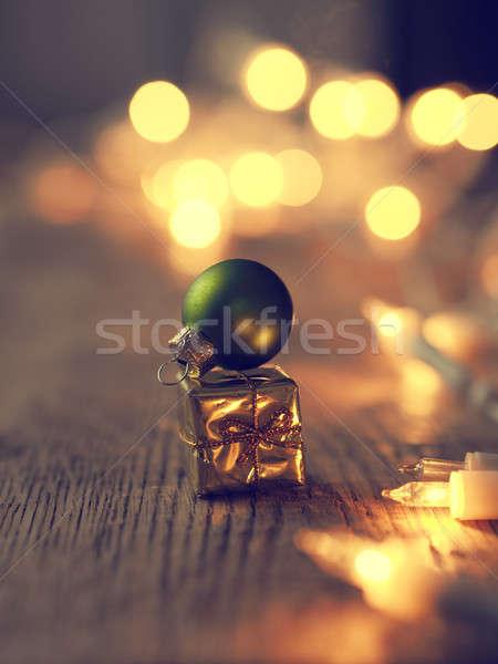 Christmas gift box with blurred lights Stock photo © andreasberheide