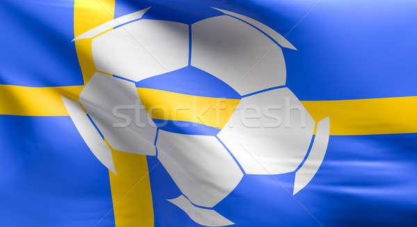 Bandera Suecia balón de fútbol icono 3D Foto stock © andreasberheide