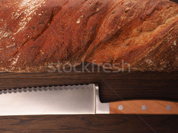 Orgânico pão mesa de madeira Foto stock © andreasberheide