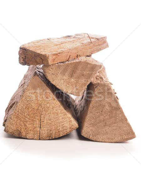 Beech fire wood on white Stock photo © andreasberheide