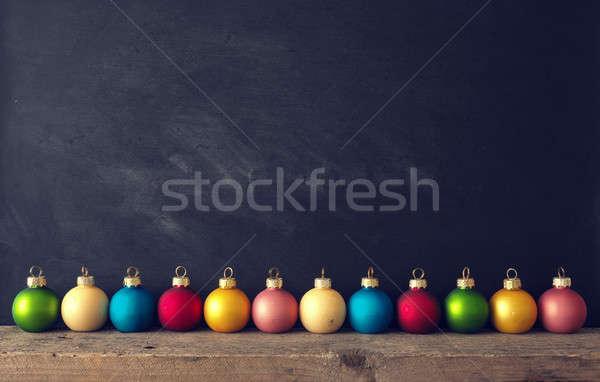 Klasszikus karácsony rusztikus fa asztal tábla fa Stock fotó © andreasberheide
