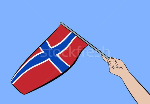 手 フラグ ノルウェー 女性 青空 ストックフォト © andreasberheide