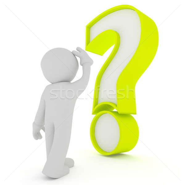 Man with big green question mark, 3d rendering Stock photo © andreasberheide