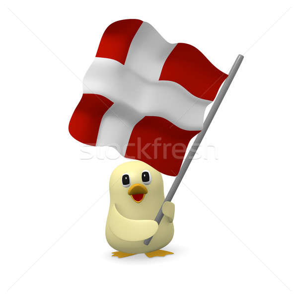 Funny bird with Danish flag Stock photo © andreasberheide