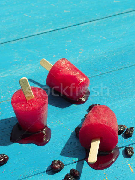 Homemade ice pops on garden table Stock photo © andreasberheide