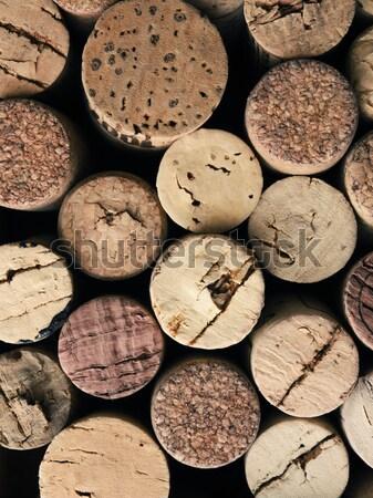 Starych butelki korka widok z góry ciemne drewna Zdjęcia stock © andreasberheide