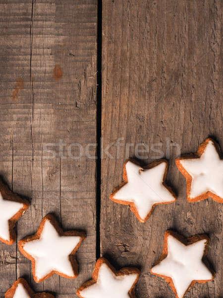 Csillagok fa fahéj fából készült űr szöveg Stock fotó © andreasberheide