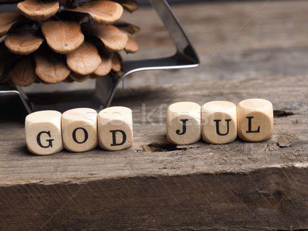 Isten vidám karácsony fából készült szavak háttér Stock fotó © andreasberheide