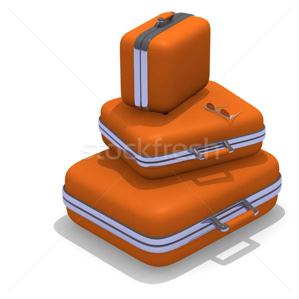 Set of orange luggages on white Stock photo © andreasberheide