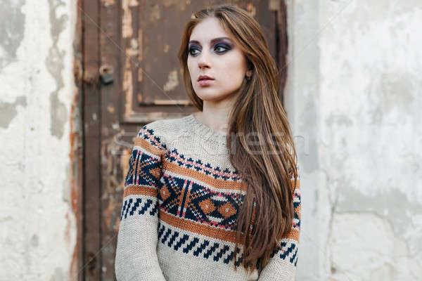 красивая женщина длинные волосы зима свитер здорового волос Сток-фото © andreonegin