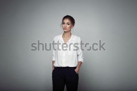 красивой молодые бизнеса женщину студию лице Сток-фото © andreonegin