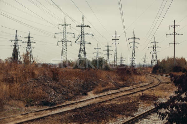 Industrial foggy landscape - old abandoned industrial zone in autumn forest Stock photo © andreonegin
