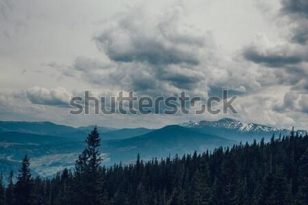 Paisagem montanhas nuvem céu nuvens grama Foto stock © andreonegin