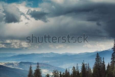Hermosa nublado cielo montanas primavera naturaleza Foto stock © andreonegin