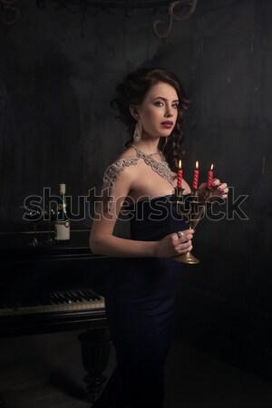 Bella vestito nero piano candele vino Foto d'archivio © andreonegin