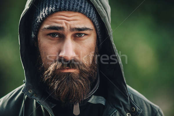 ストックフォト: ハンサム · 残忍な · あごひげを生やした · 男 · 暗い · あごひげ
