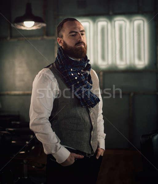 Yakışıklı sakallı adam şık sakal Stok fotoğraf © andreonegin
