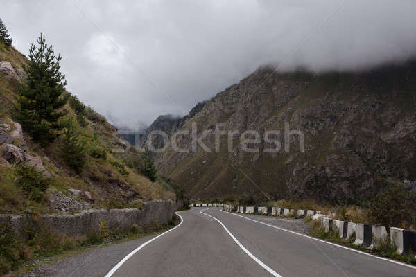 Cinematic road landscape. Asphalt Road throuth the mountains. With cloudy sky Stock photo © andreonegin