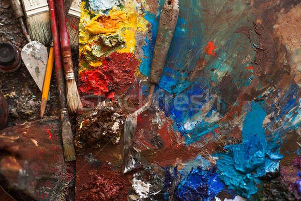 art paints, palette, brushes pencil Stock photo © andreonegin