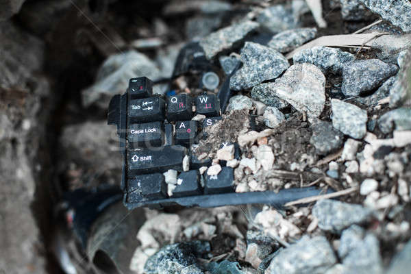 broken black keyboard on the trash Stock photo © andreonegin