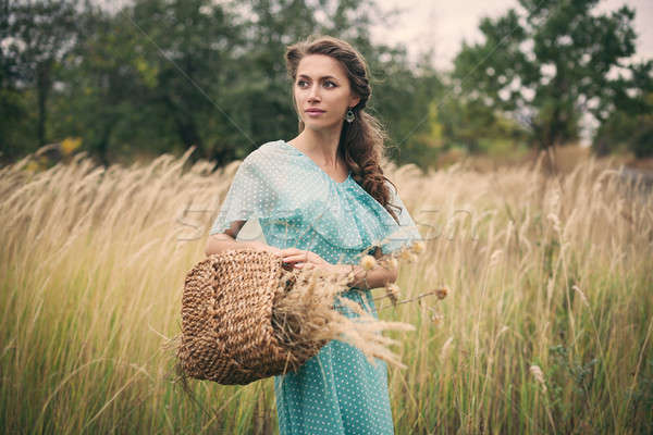 пшеницы женщину девушки пейзаж Сток-фото © andreonegin