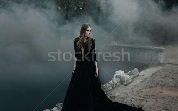 Foto stock: Jovem · atraente · bruxa · caminhada · ponte · pesado