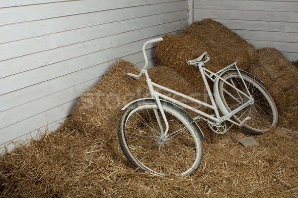 古い 自転車 乾草 俵 レトロな 効果 ストックフォト © andreonegin