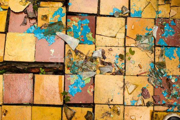 Cracked retro tiles floor background texture Stock photo © andreonegin