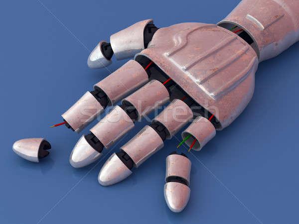 Rotto robot robotico mano illustrazione digitale metal Foto d'archivio © Andreus