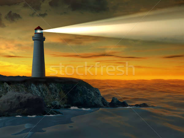 Lighthouse at sunset Stock photo © Andreus