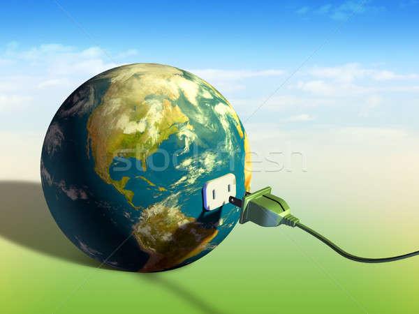 Föld energia elektomos kábel Föld digitális illusztráció Stock fotó © Andreus