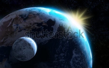 Earth and moon Stock photo © Andreus