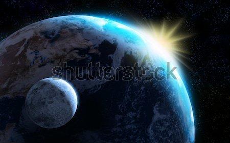Terre lune soleil planète numérique monde Photo stock © Andreus
