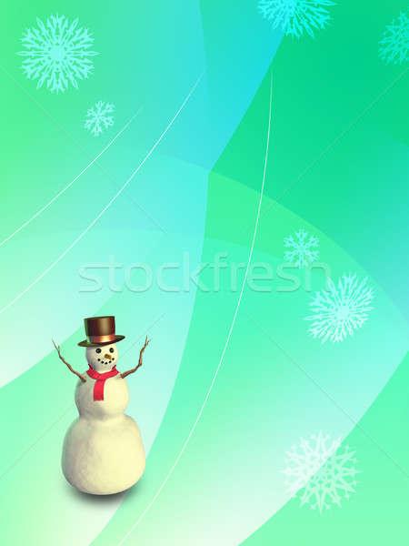 Christmas sneeuwpop digitale illustratie glimlach sneeuw groene Stockfoto © Andreus