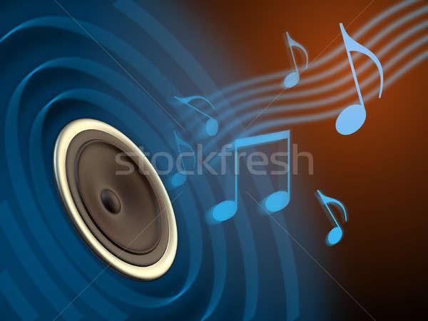 музыку играет из оратора конус Цифровая иллюстрация Сток-фото © Andreus