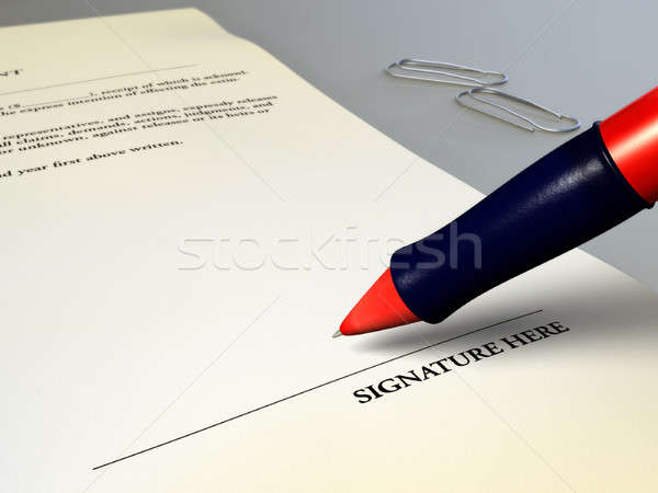 Juridische overeenkomst teken contract digitale illustratie business Stockfoto © Andreus
