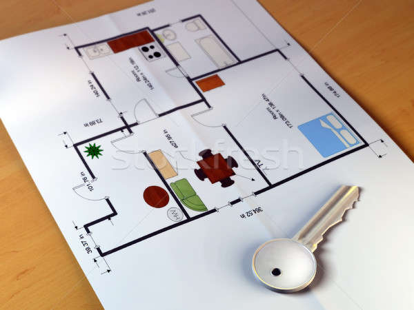 Home planning plan sleutel tabel digitale illustratie Stockfoto © Andreus