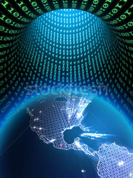 Digitale aarde wereldbol binair gegevens tunnel Stockfoto © Andreus