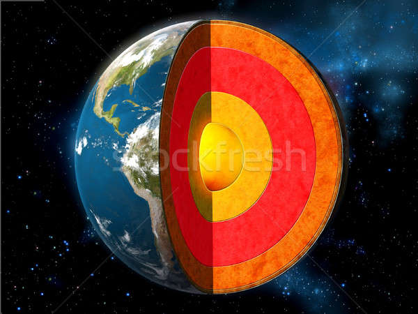 Aarde kern doorsnede tonen intern structuur Stockfoto © Andreus