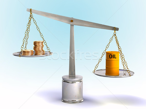Olie prijs munten trommel evenwicht digitale illustratie Stockfoto © Andreus