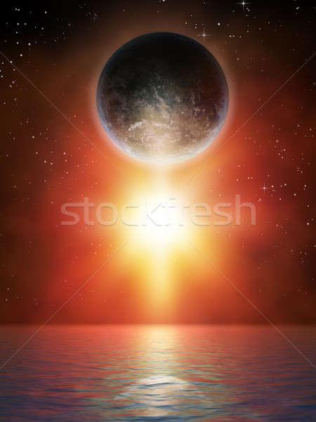 Bolygó csillag fölött víztükör digitális illusztráció naplemente Stock fotó © Andreus