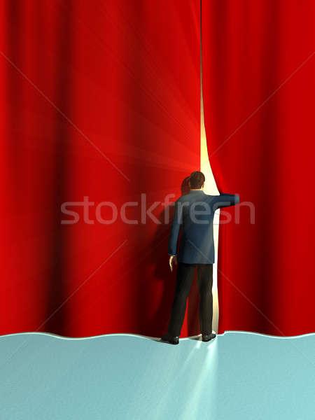 Nyitás függönyök üzletember nagy piros digitális illusztráció Stock fotó © Andreus