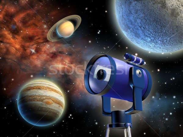 Astronomie étudier planètes télescope illustration numérique Photo stock © Andreus